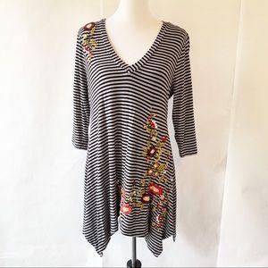 Soft Surroundings Gray & Black Striped Tunic Med
